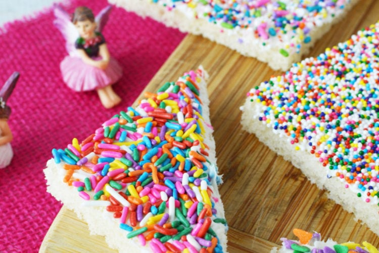Colorful sprinkles on bread slices