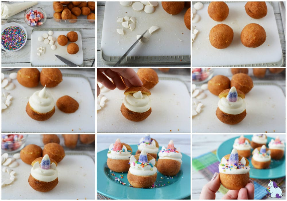Unicorn donut holes recipe steps