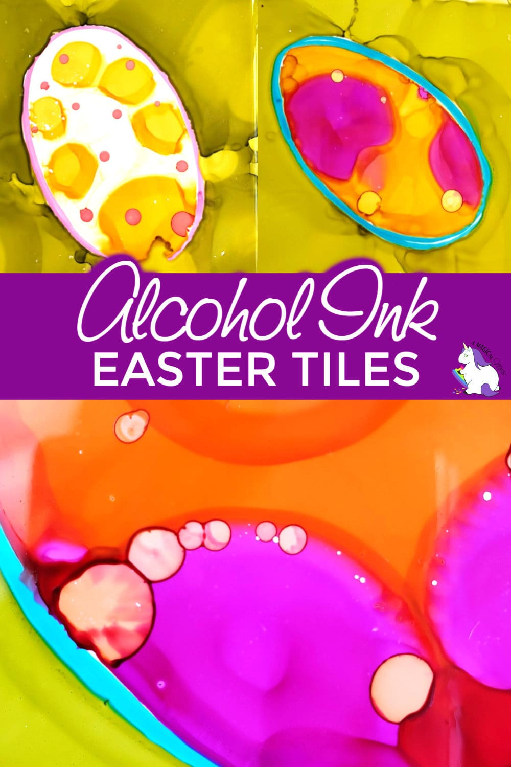 Alcohol Ink Tiles for Easter Eggs