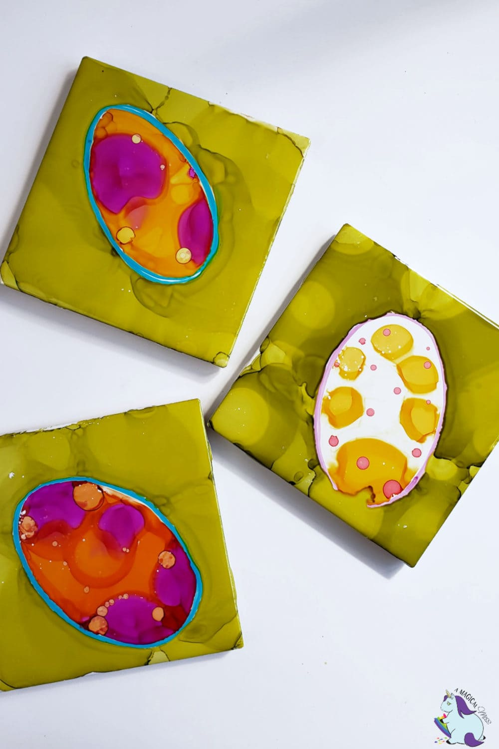 Easter Egg Alcohol Ink Tiles