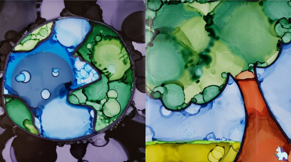 Earth Day Craft - abstract alcohol ink art on tile