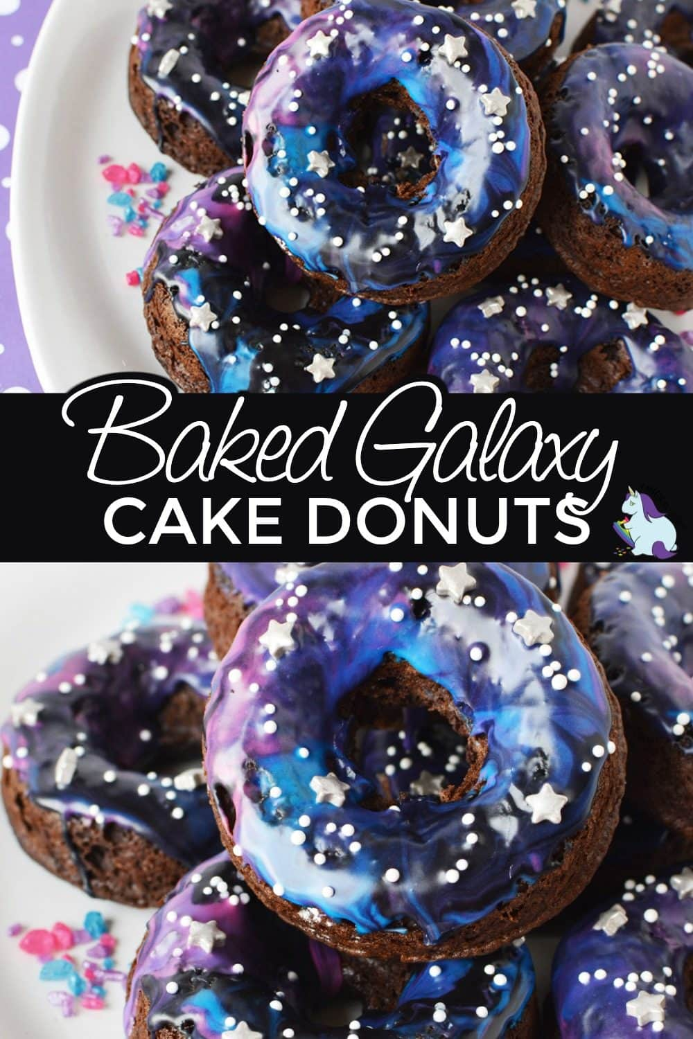 Baked cake donuts on a plate. Galaxy donuts stacked.