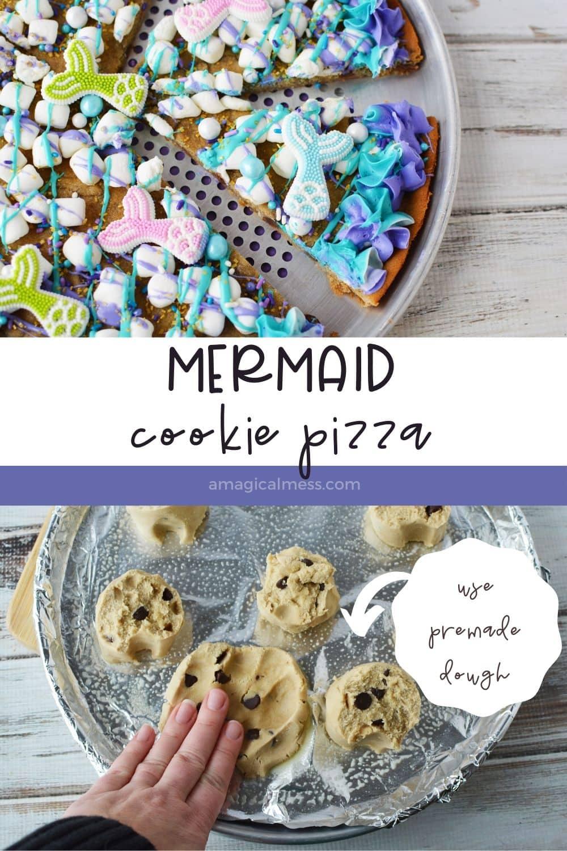 mermaid cookie pizza sliced on a rack