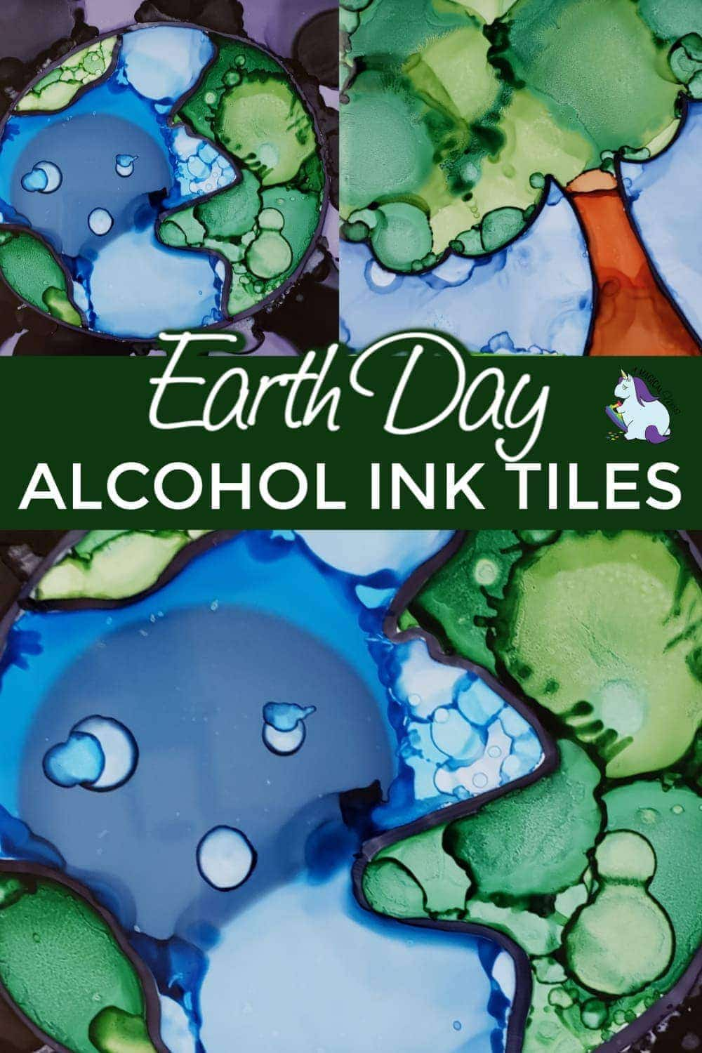 Earth Day craft ideas - Alcohol ink on tiles