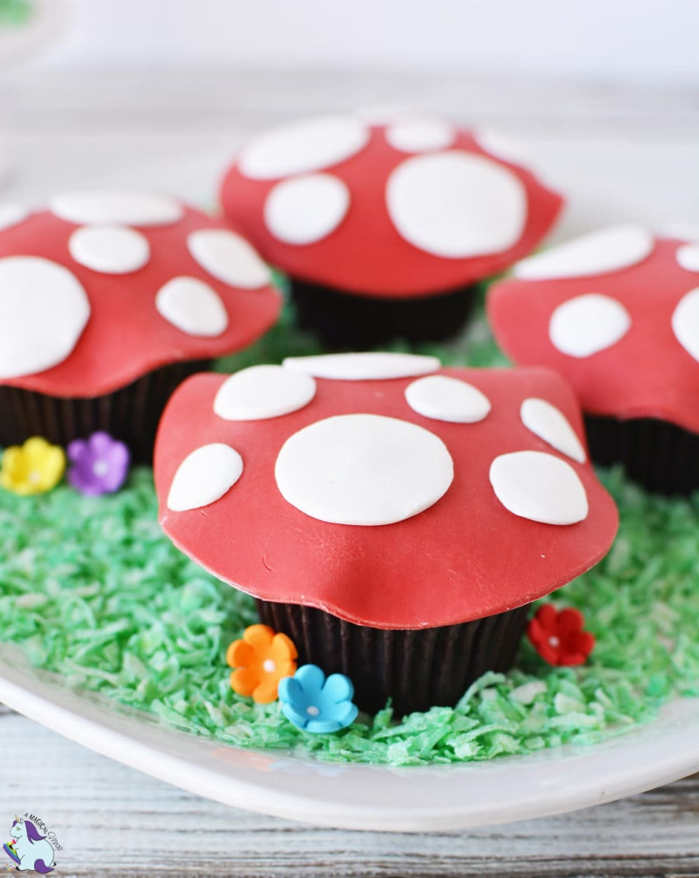 Toadstool cupcakes for a magical woodland fairy themed party!