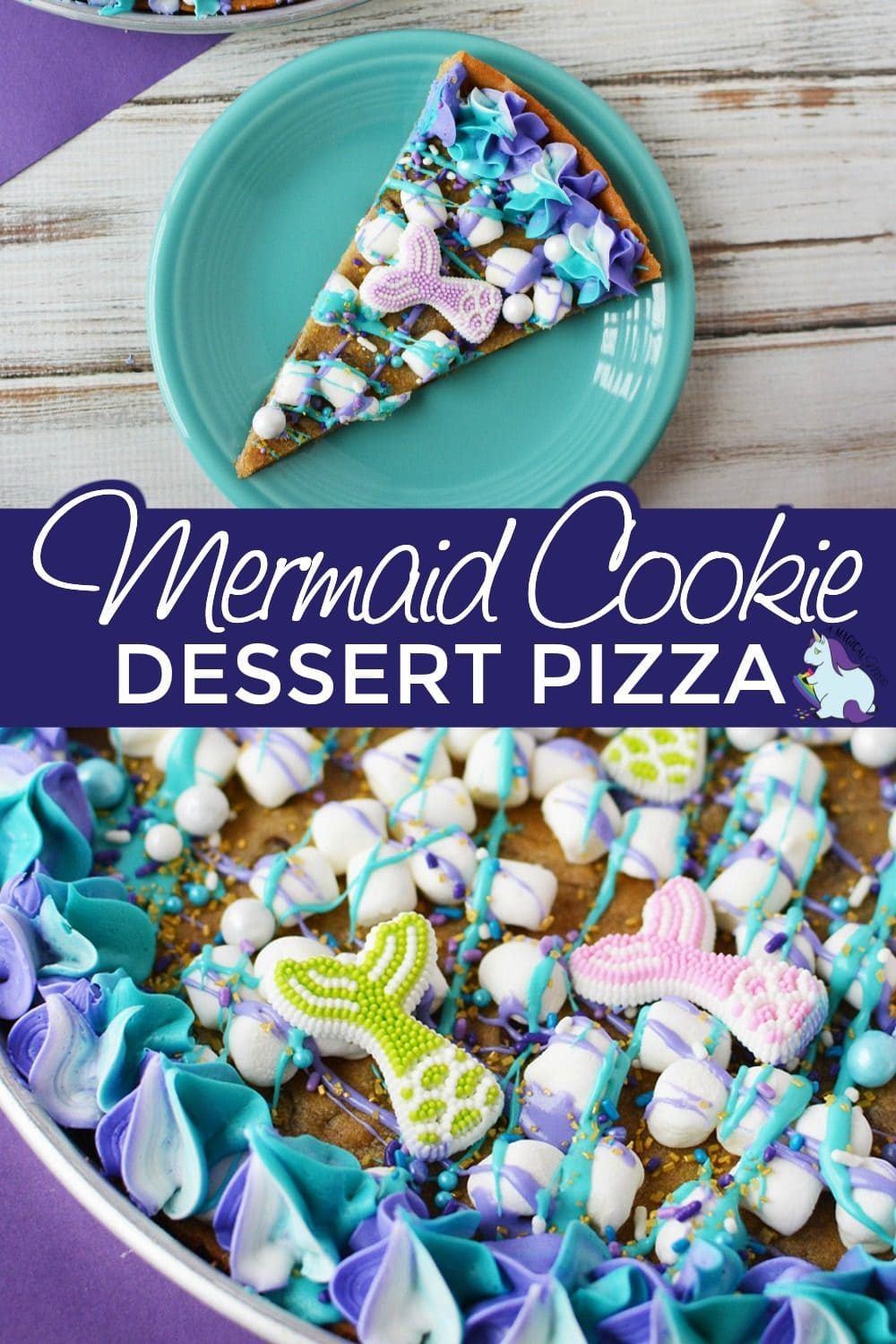 Cookie dessert pizza topped with mermaid decorations.