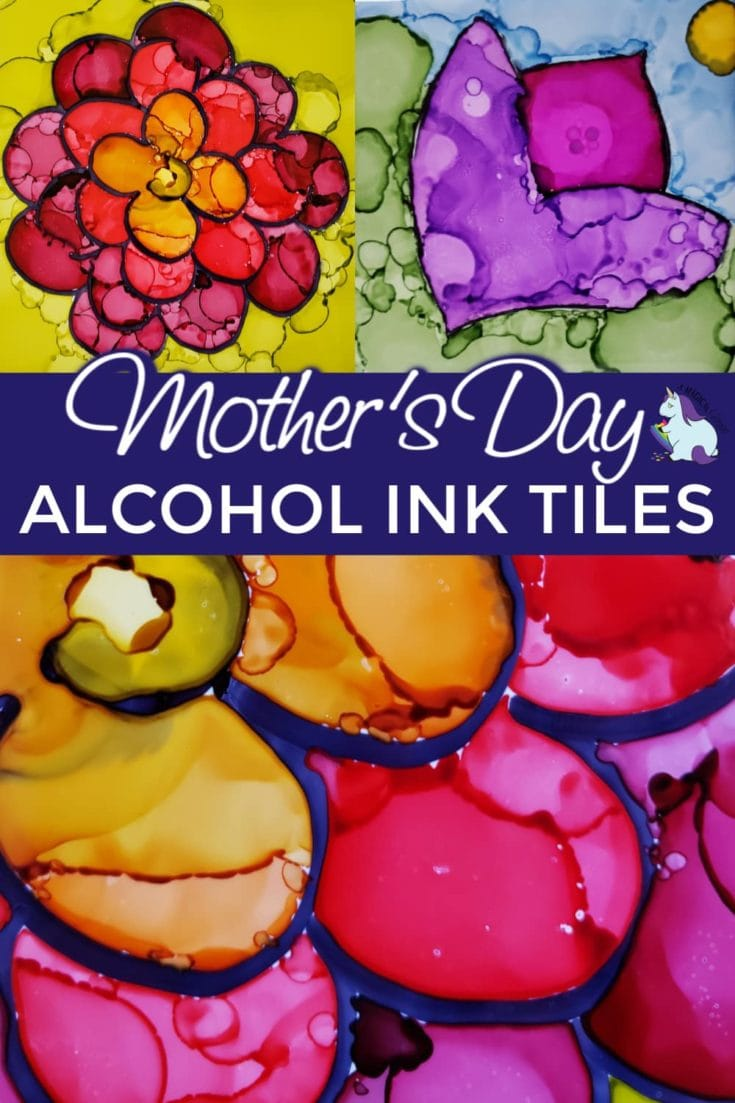 Pretty flowers on tiles using alcohol ink