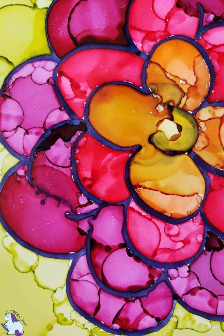 Beautiful Mother's Day craft - alcohol ink flowers