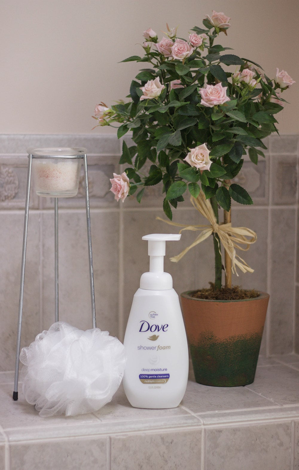 Dove shower foam and a bath poof