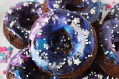 galaxy donuts on a plate