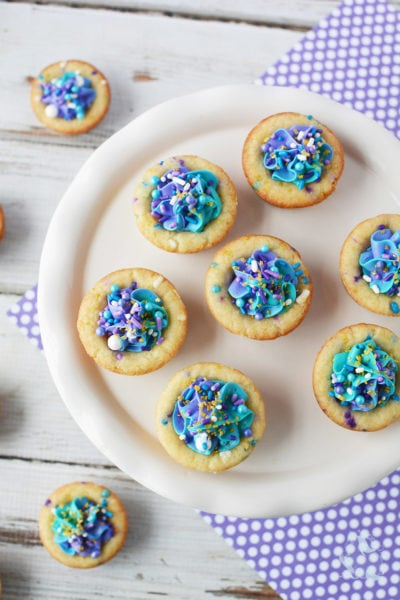 Mermaid cookie cups overhead shot.