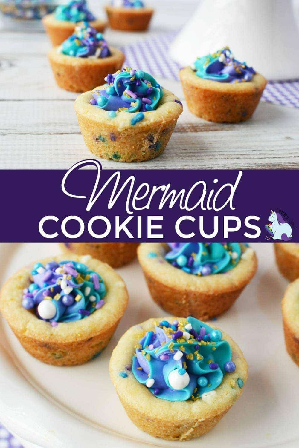 Mermaid cookies cups on display.