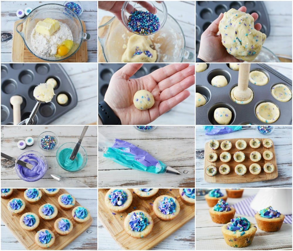 The steps to make cookie cups with mermaid filling.