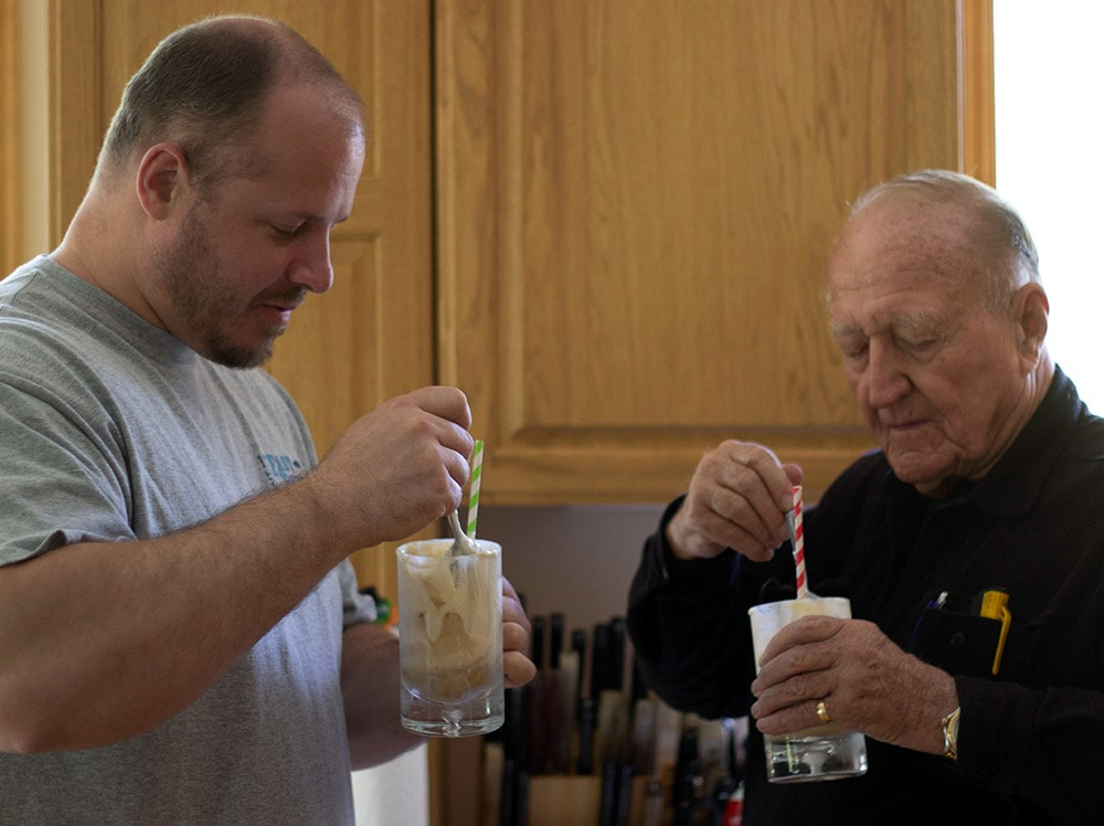 Mike and Papa drinking floats
