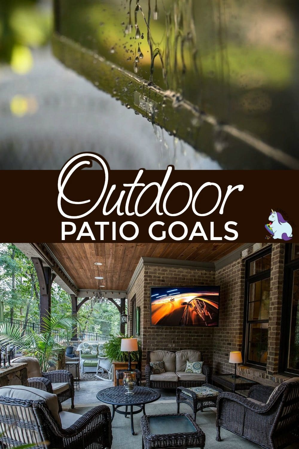 Picture of an outdoor TV and a nice patio area.