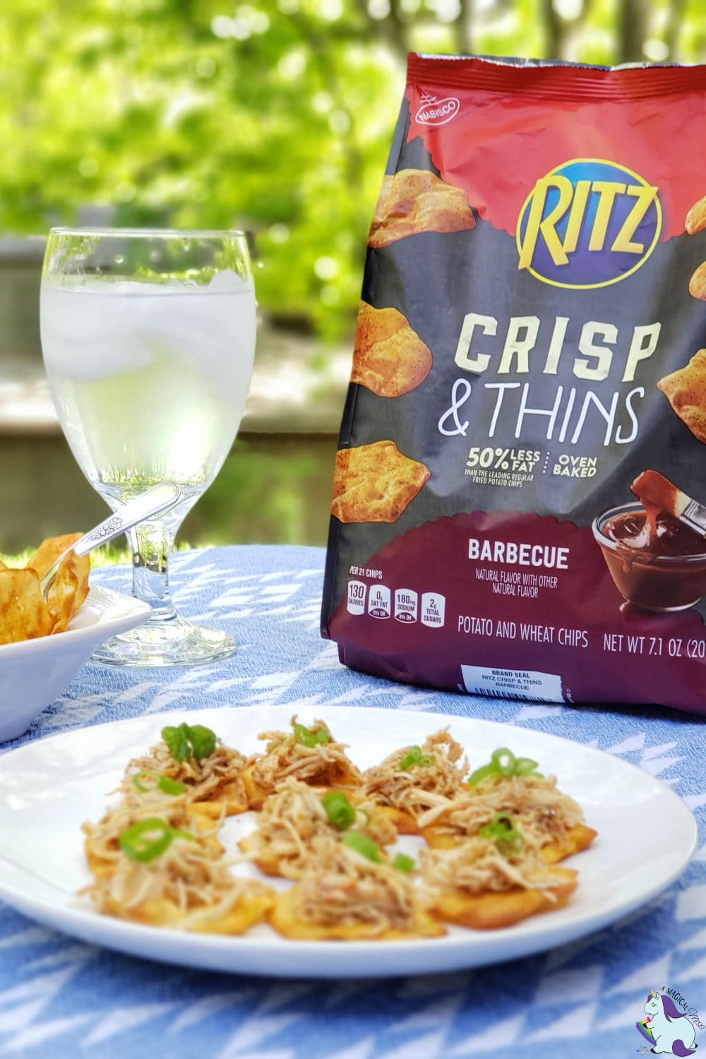 Backyard snacks - pulled chicken on Barbecue RITZ Crisp and Thins