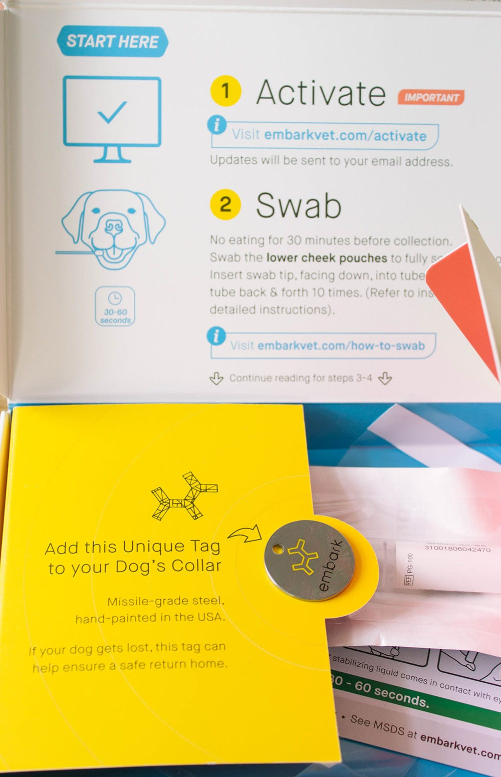 Open box of the Embark DNA test for dogs