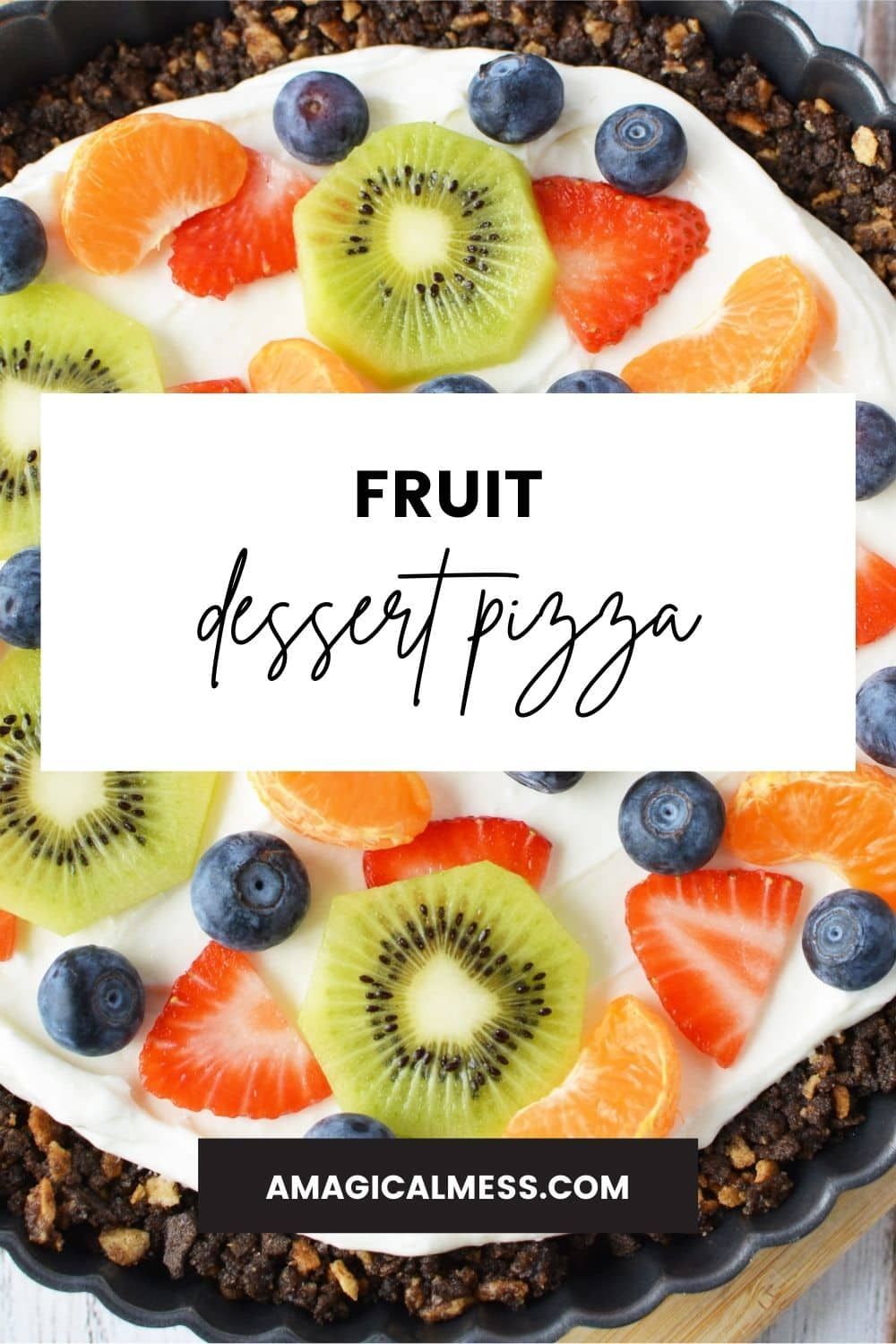 Slices of kiwi, strawberries, and other fruit on a tart.