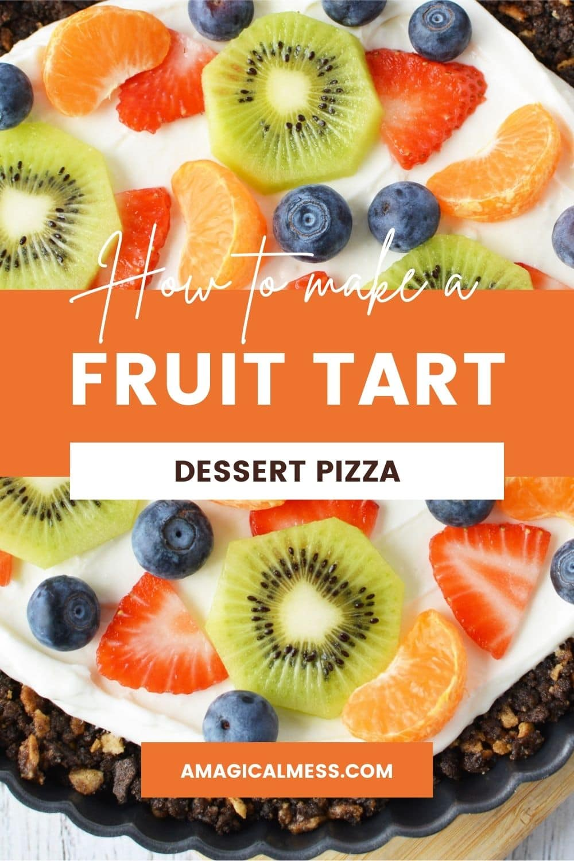 Fresh fruit sliced up on a dessert pizza.