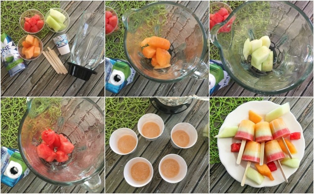 Steps to make homemade melon pops.