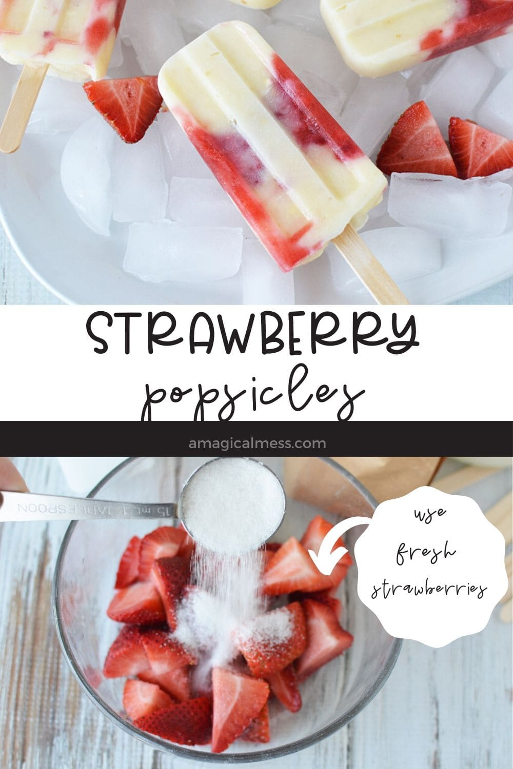 popsicles on ice and strawberries in food processor