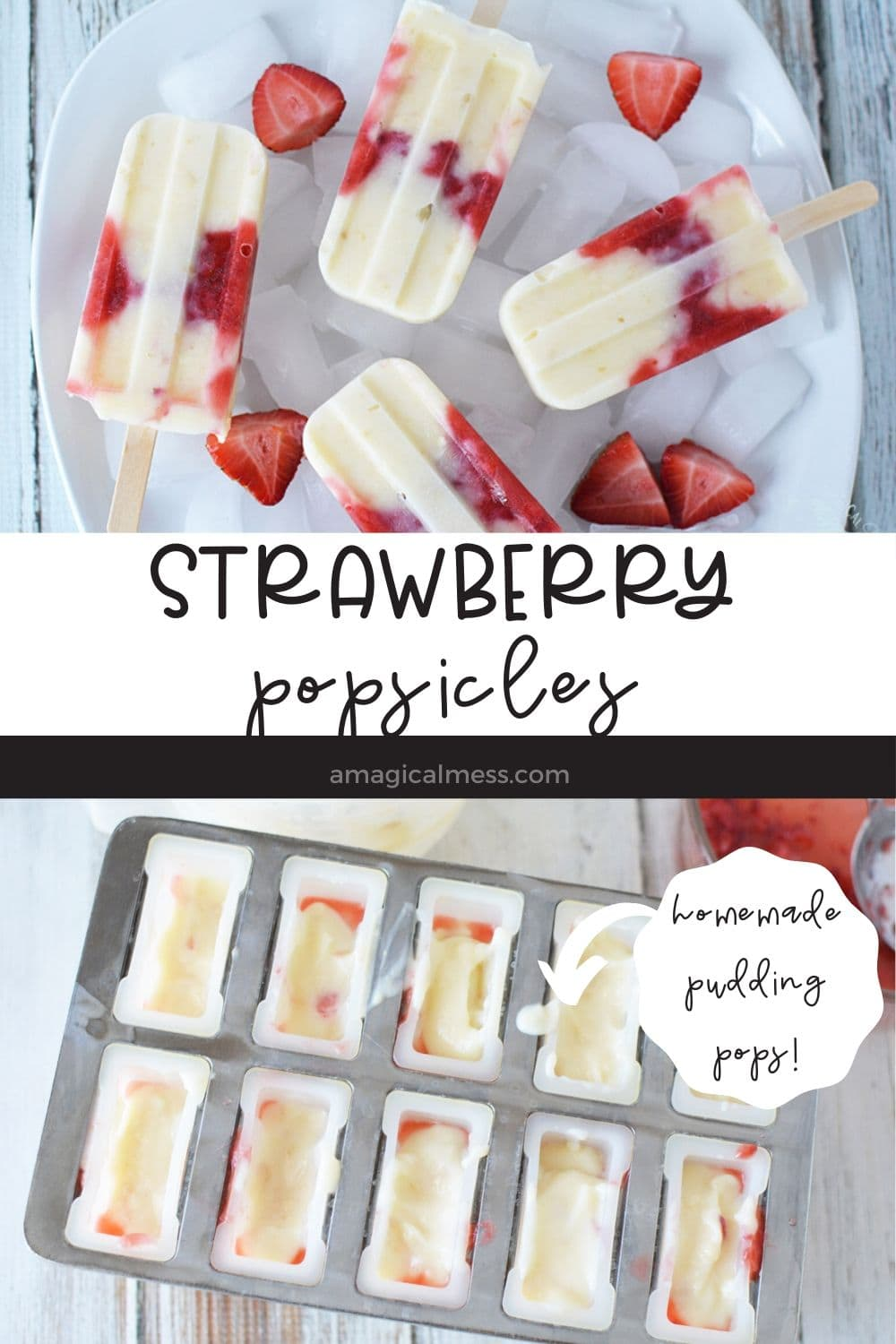 strawberry pops on ice and in mold