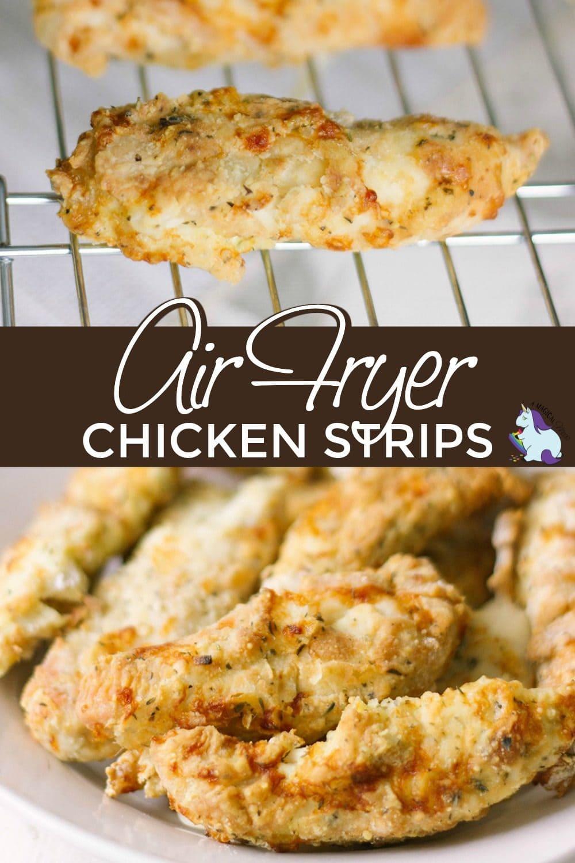 Crispy chicken strips on a wire rack.