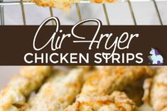 Crispy chicken strips on a wire rack.
