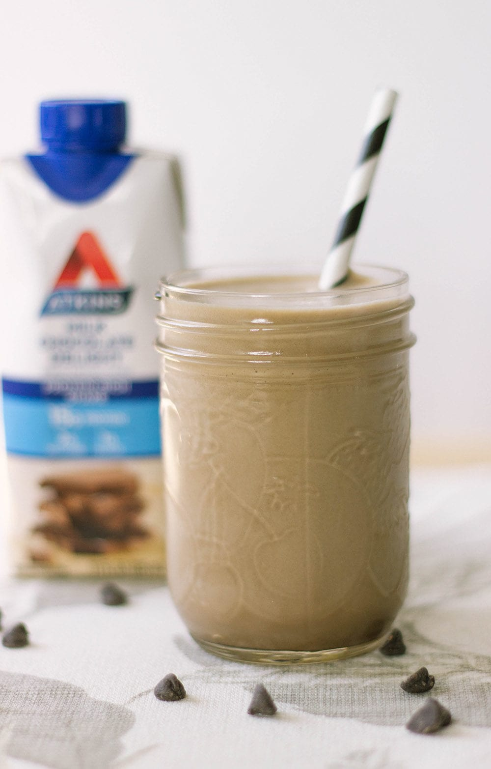Chocolate Atkins shake in a jar