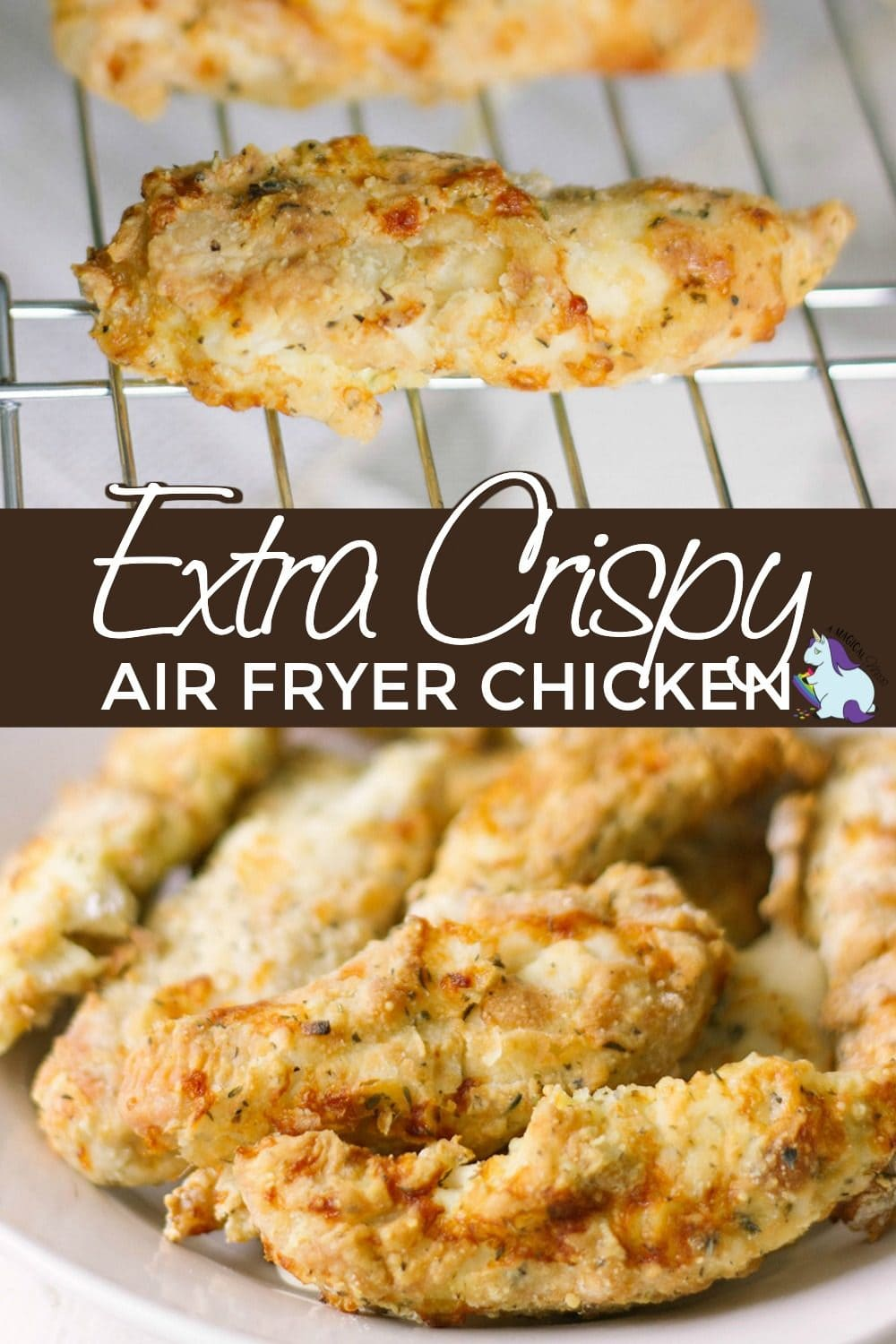 Crispy air fryer chicken strips on a rack and in a bowl.