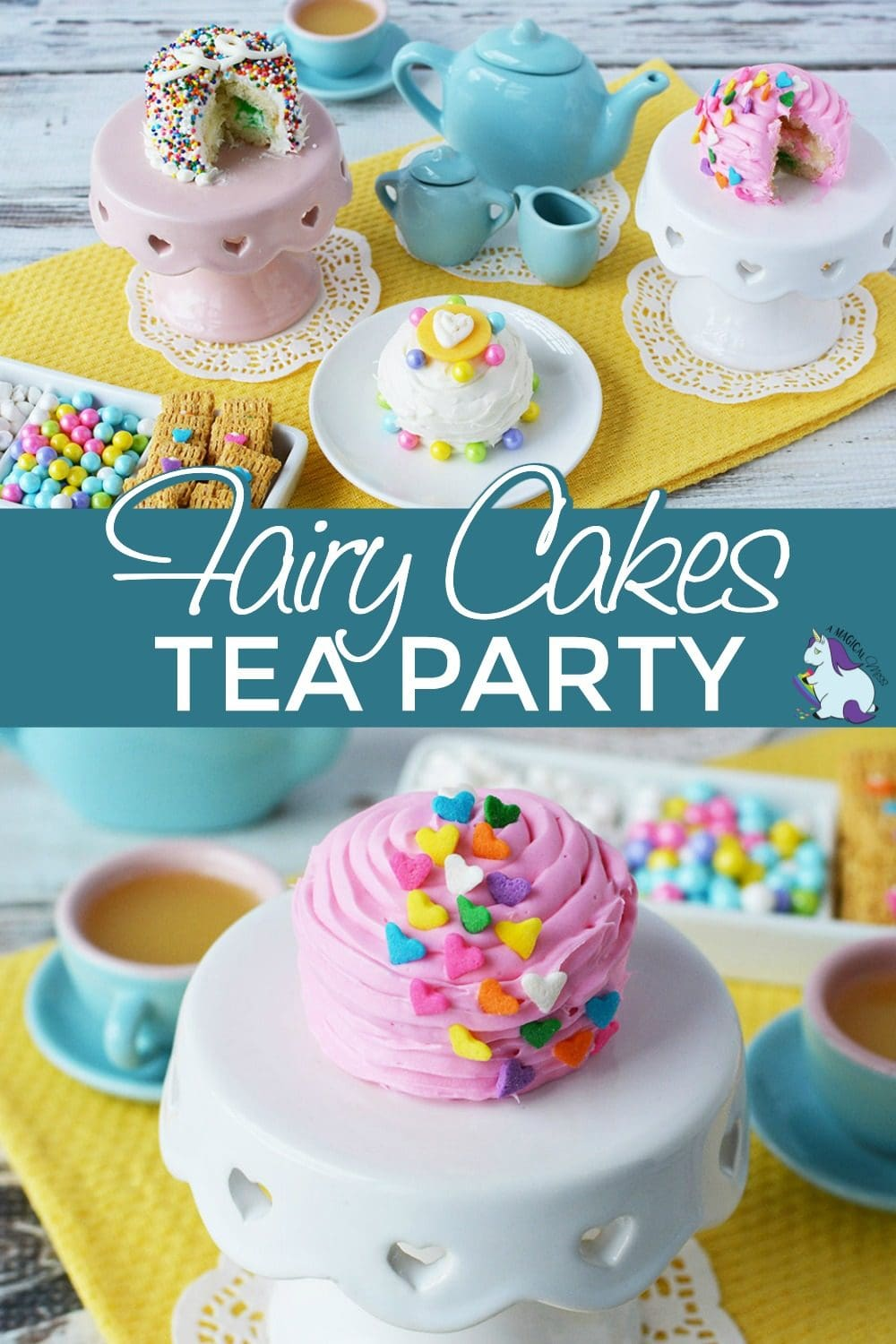 Tea party with mini cakes and treats.