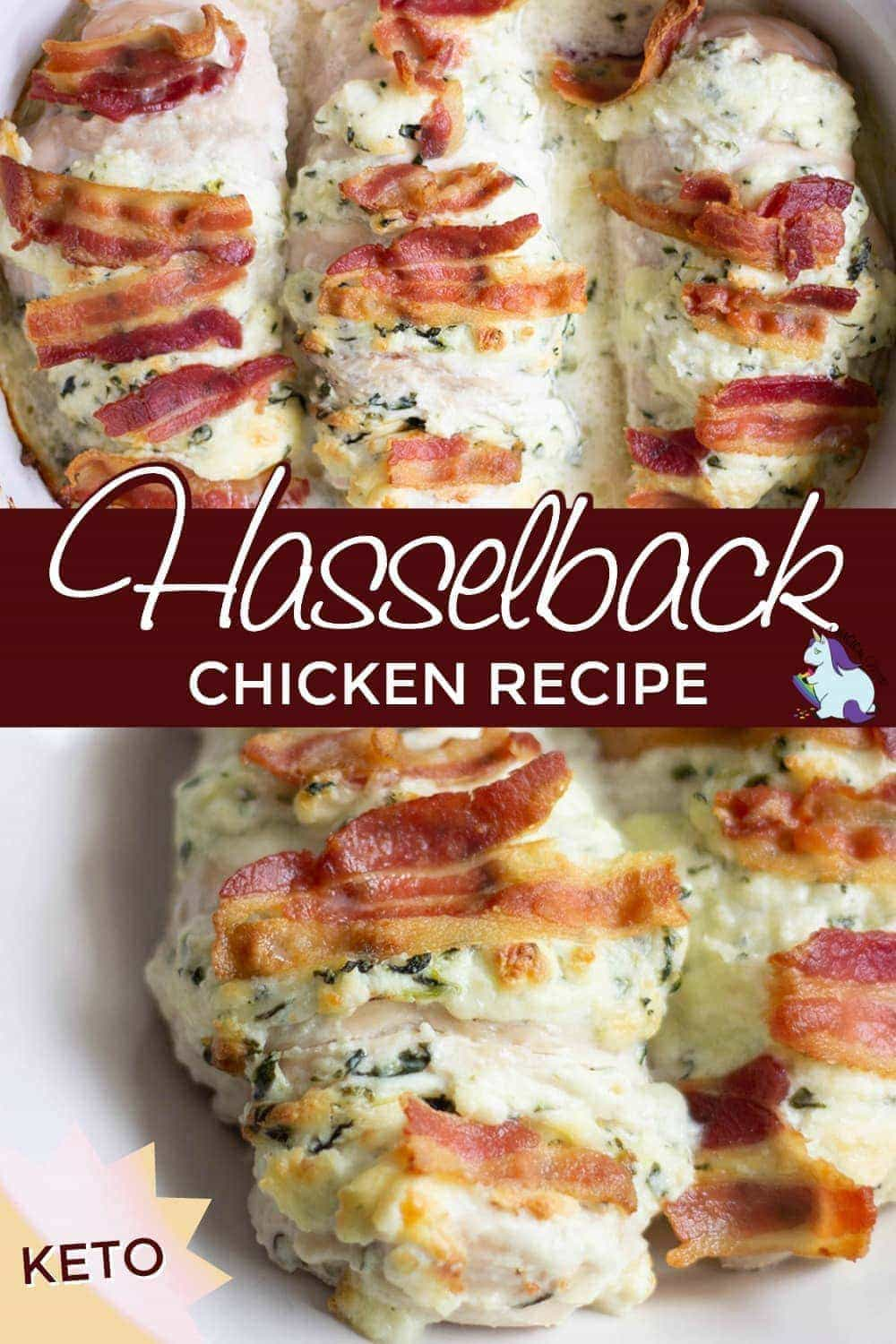 Hasselback chicken stuffed with spinach, bacon, and cream cheese.