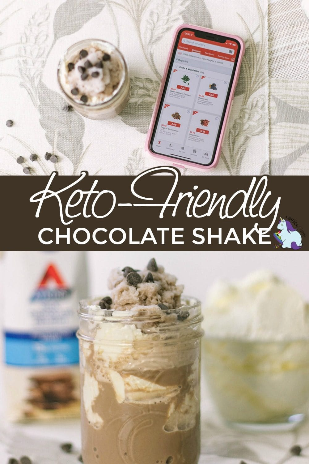 Low-carb chocolate shake with whipped cream and chips