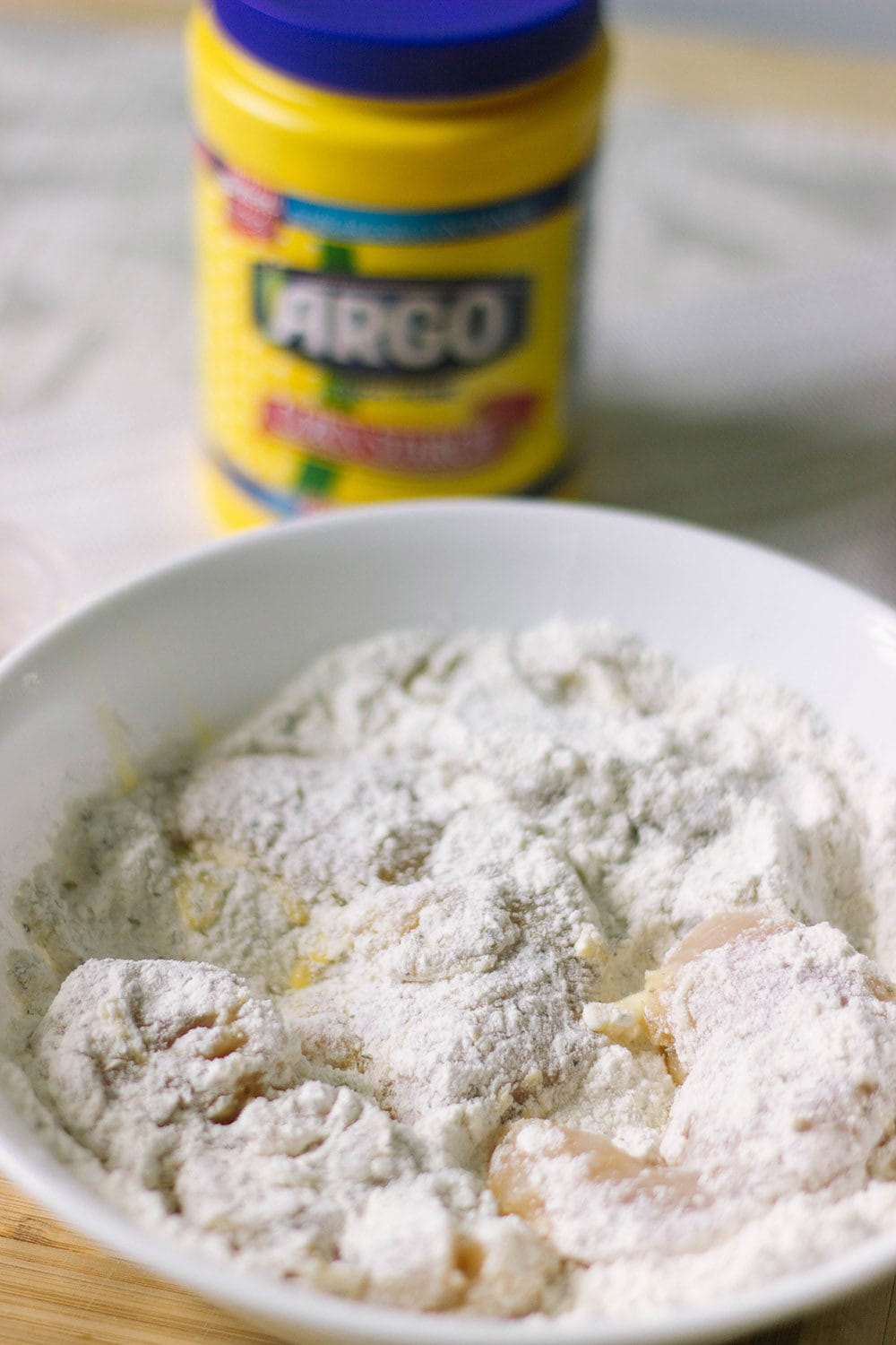 Chicken coat in flour mixture with Argo corn starch.