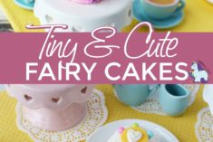 Fairy cakes surrounded by tea party supplies.