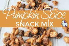 Nuts and snack mix falling out of a mason jar.