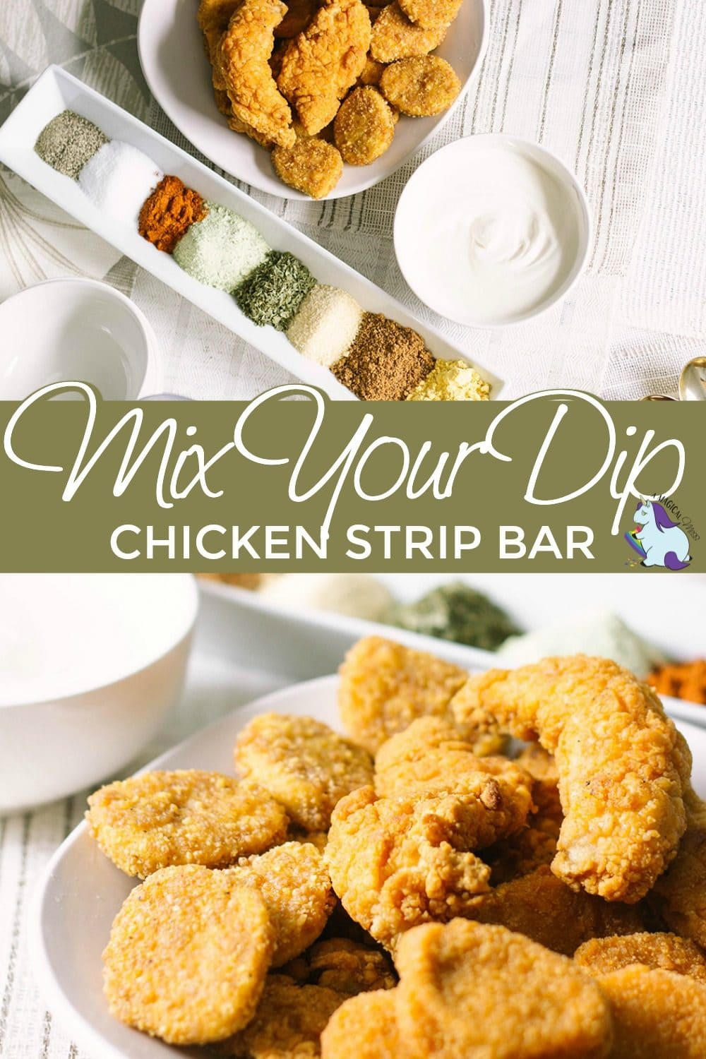 Chicken strips on a table with seasonings to mix dips.