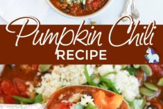 Pumpkin chili in a bowl and up close with a spoon.