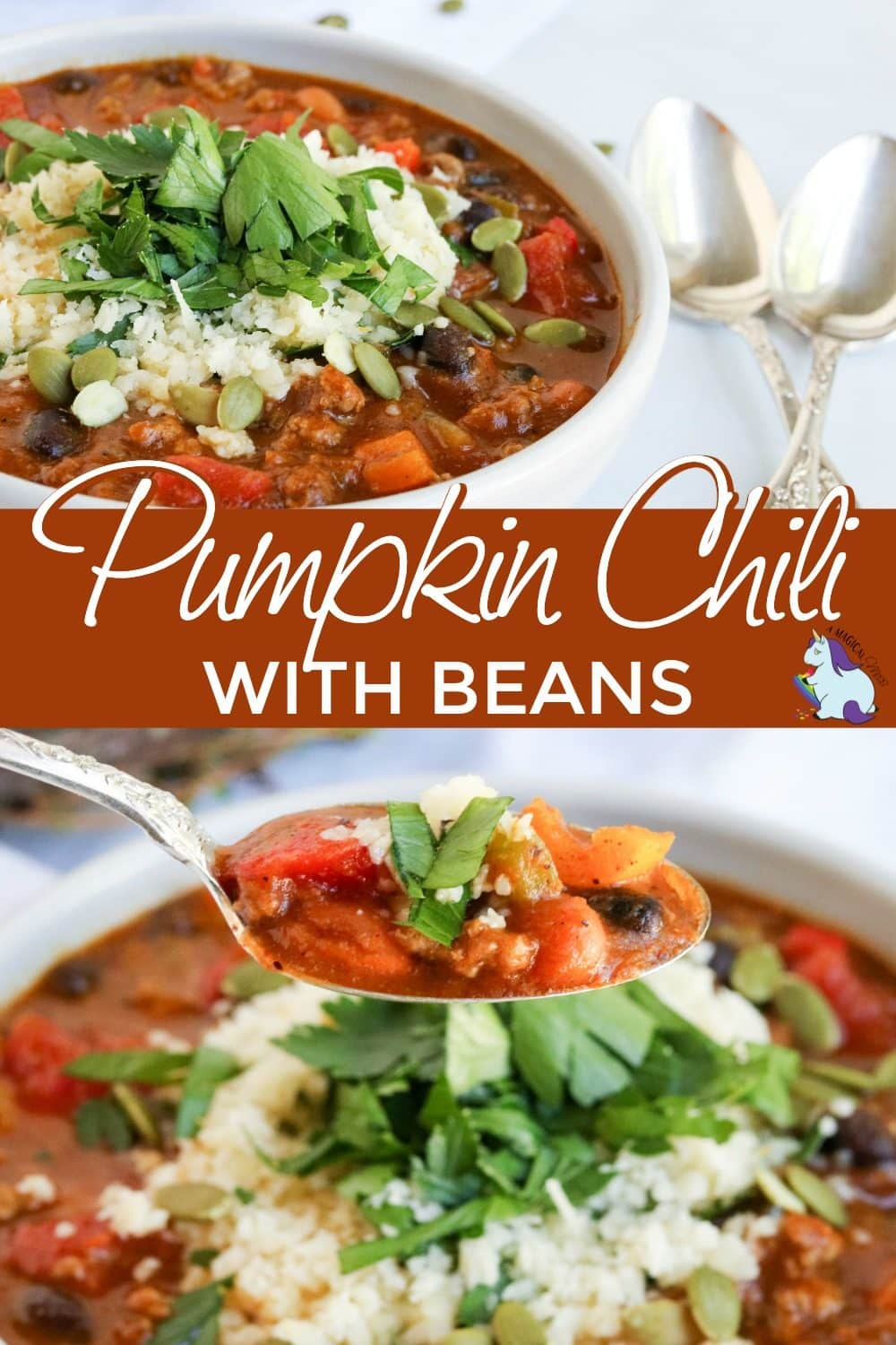 Pumpkin chili recipe in a bowl and a spoonful of it up close.
