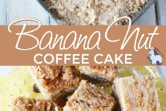 Banana nut coffee cake in a pan and sliced on a plate