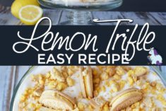 Layered lemon OREO dessert in a glass dish.