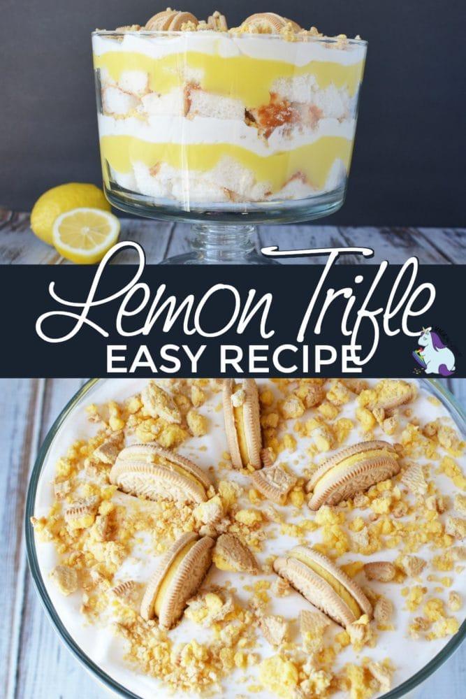Layered lemon OREO dessert in a glass dish.