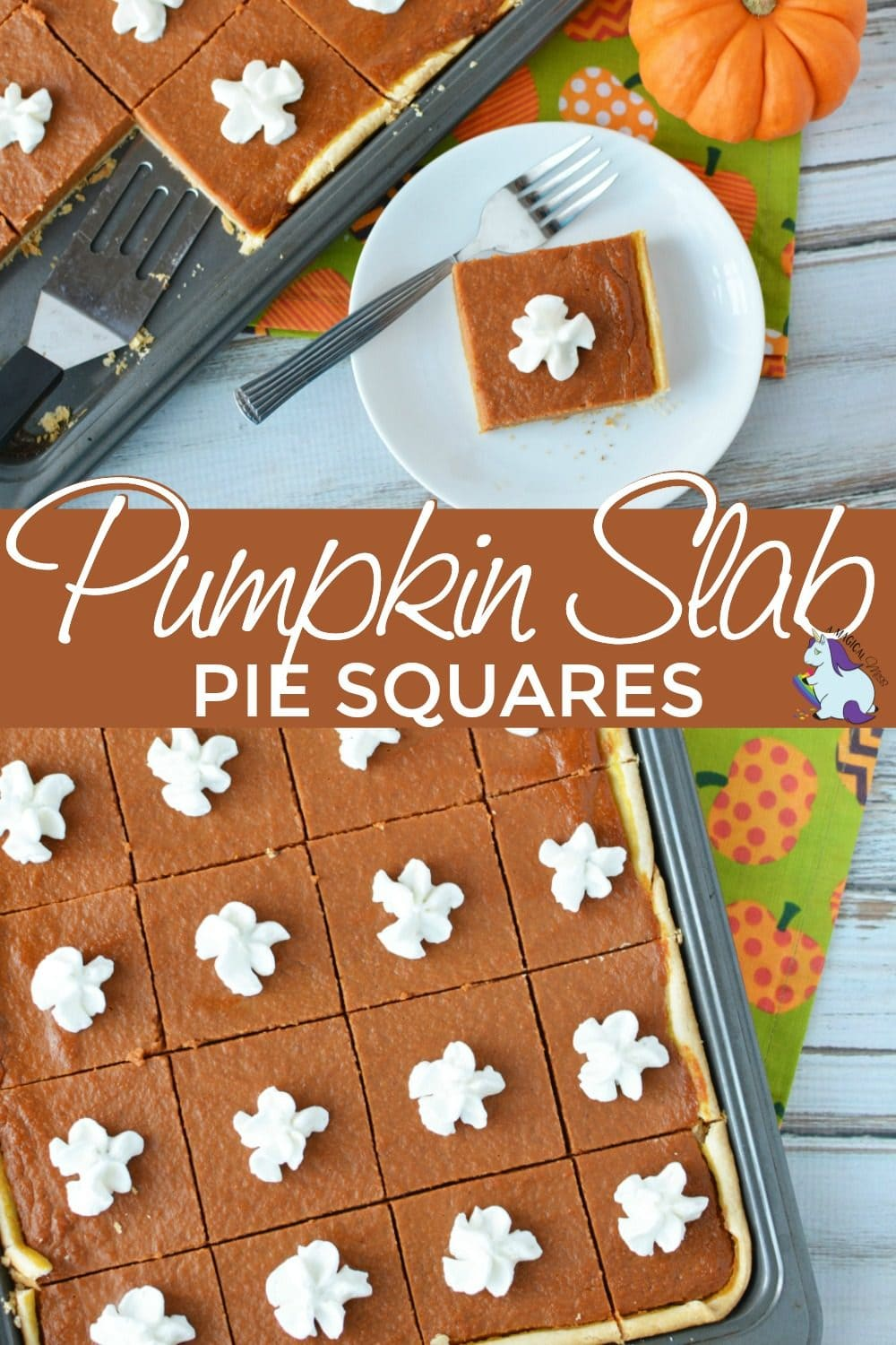 Pumpkin pie square on a plate and the whole tray of pumpkin slices.