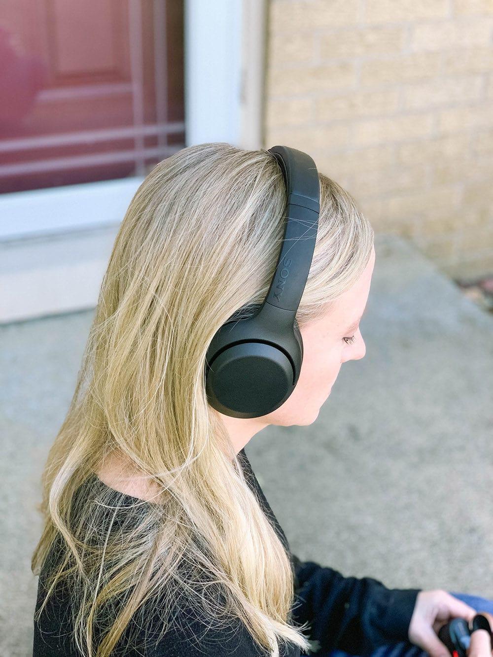 Me wearing Sony Headphones