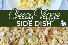 Velveeta cheese casserole on plate and in a casserole.