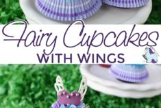 Fairy cupcakes with wings and skirts on a stand
