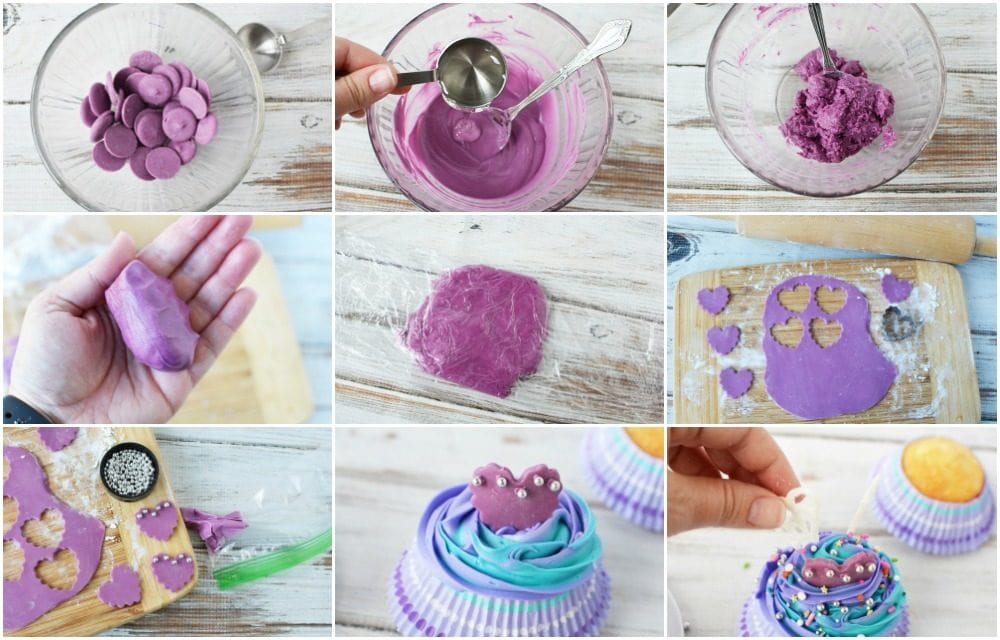 Steps to create candy clay heart bodices.