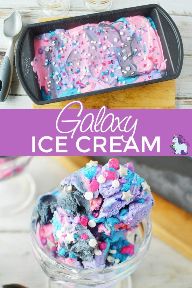 Loaf pan filled with galaxy ice cream and served in a dish.