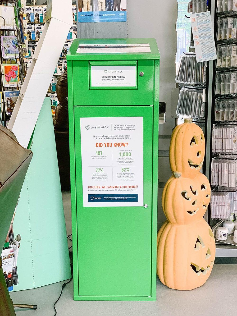 Drug Take-Back bin at Lombard Pharmacy