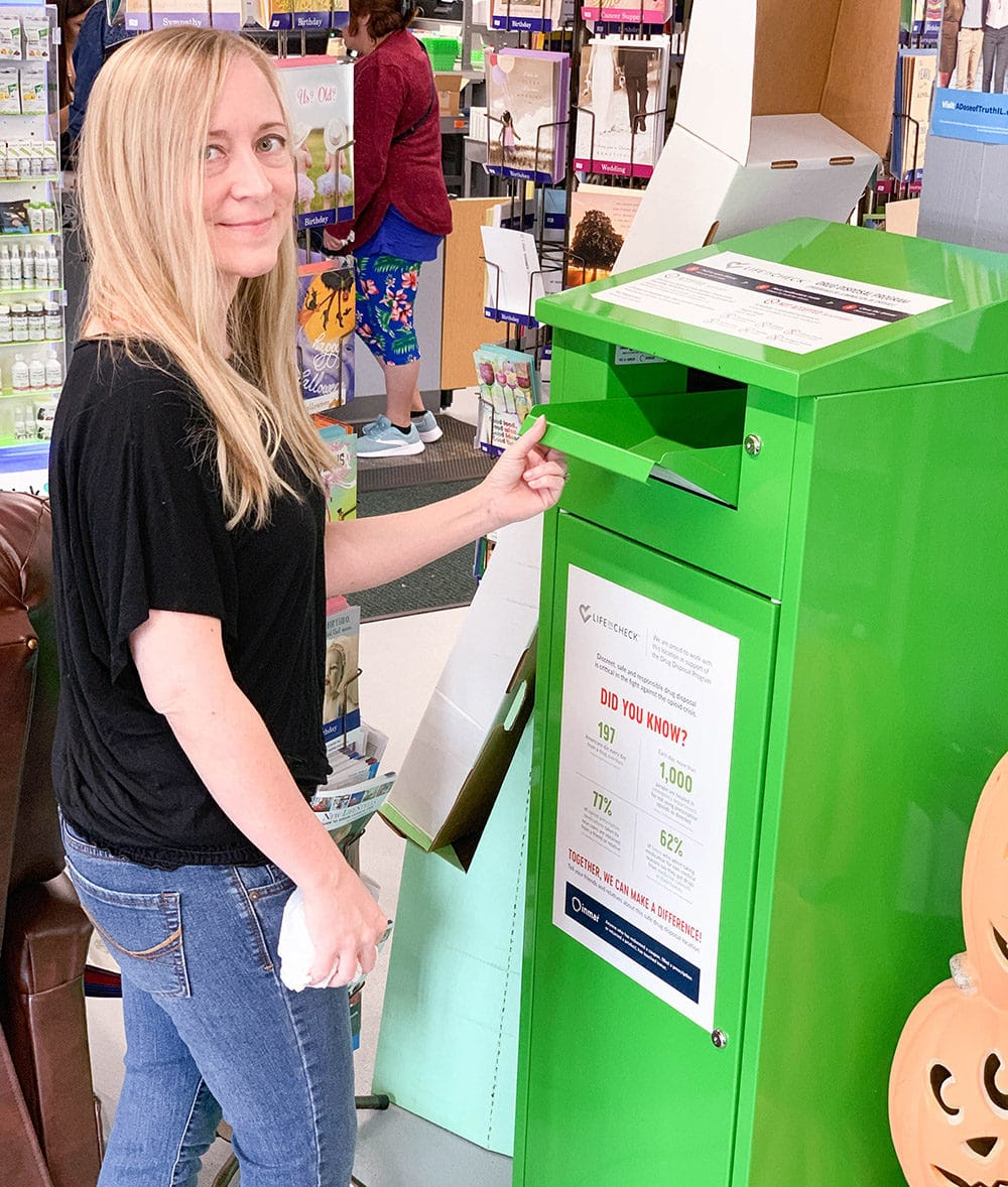 Dispose of medication properly in this drug take-back receptacle.